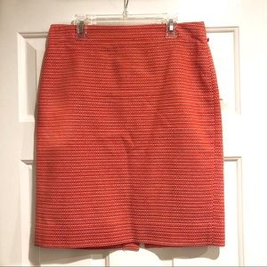 J Crew Orange White The Pencil Skirt Dot Dot Dash